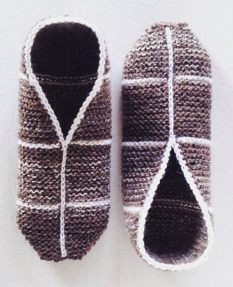 Free Knitting Pattern for Simple Garter Stitch Slippers