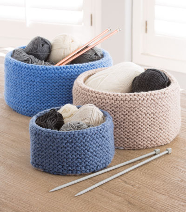 Knitting Pattern for Garter Stitched Baskets