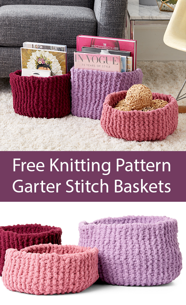 Free Knitting Pattern for Garter Stitch Baskets in Jumbo Yarn