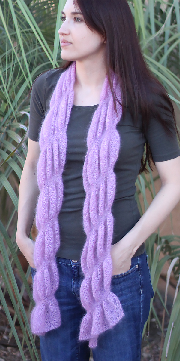 Free Knitting Pattern for Easy Ruched Scarf