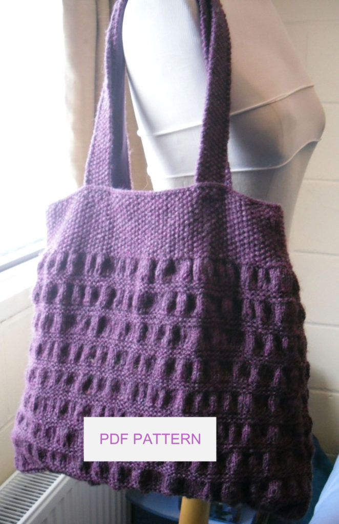 Knitting Pattern for Gathered Tote Bag