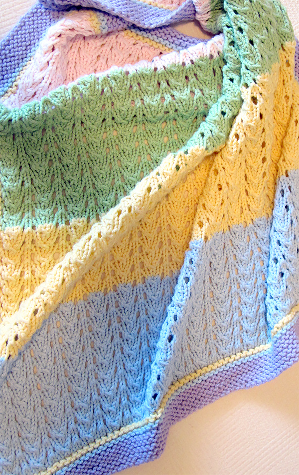 Free Knitting Pattern for 4 Row Repeat Gentle Baby Blanket