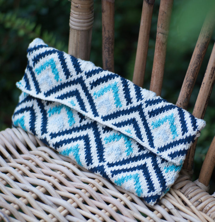Free Knitting Pattern for Geometric Clutch