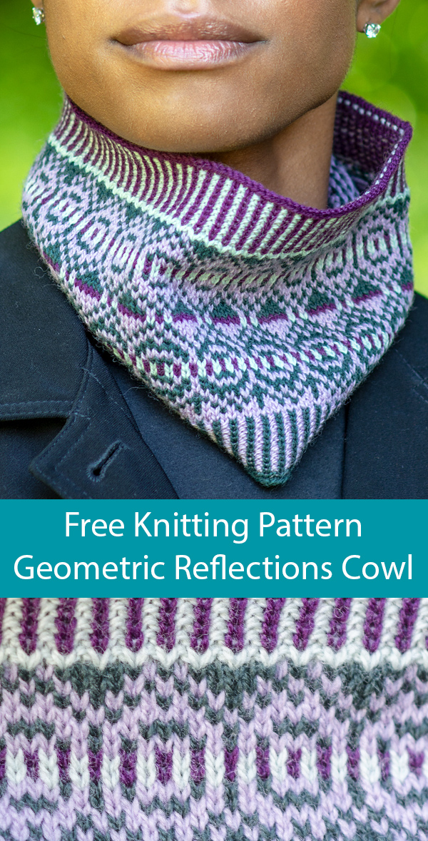 Free Knitting Pattern for Geometric Reflections Cowl