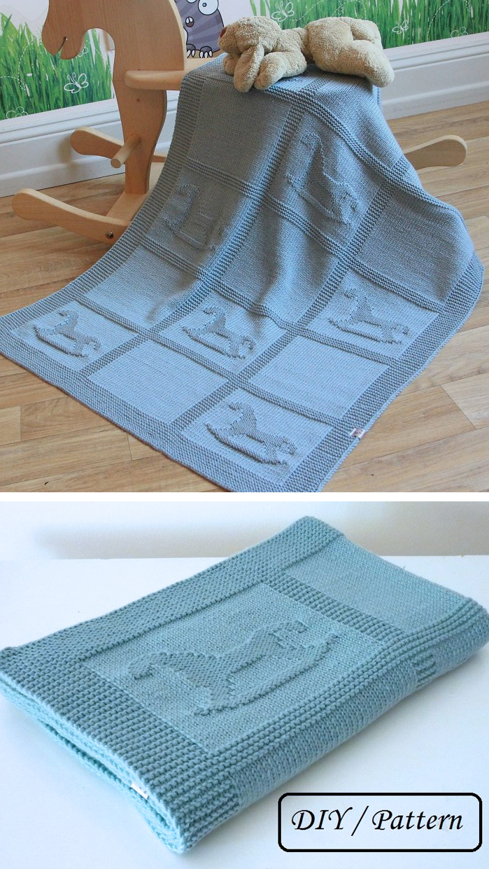 Knitting Pattern for Rocking Horse Baby Blanket