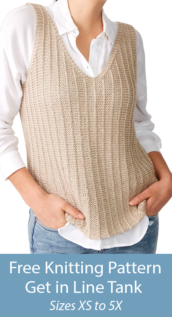 Free Knitting Pattern for Get in Line Tank Top Sizes XS to 5X
