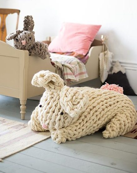 Free Knitting Pattern for Giant Arm Knit Bunny