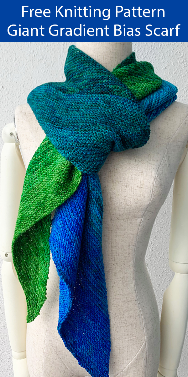 Free Knitting Pattern for Easy Giant Gradient Bias Scarf