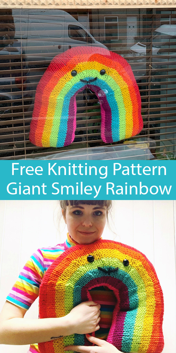 Free Knitting Pattern for Giant Smiley Rainbow