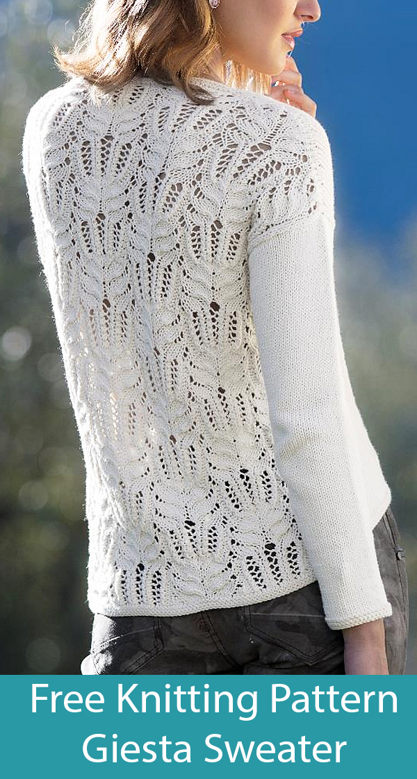 Free Knitting Pattern for Giesta Sweater with Lace Back