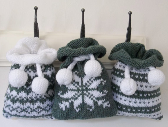 Knitting patterns for Gift Bag Fair Isle, Norwegian and Snowflake and more gift wrap knitting