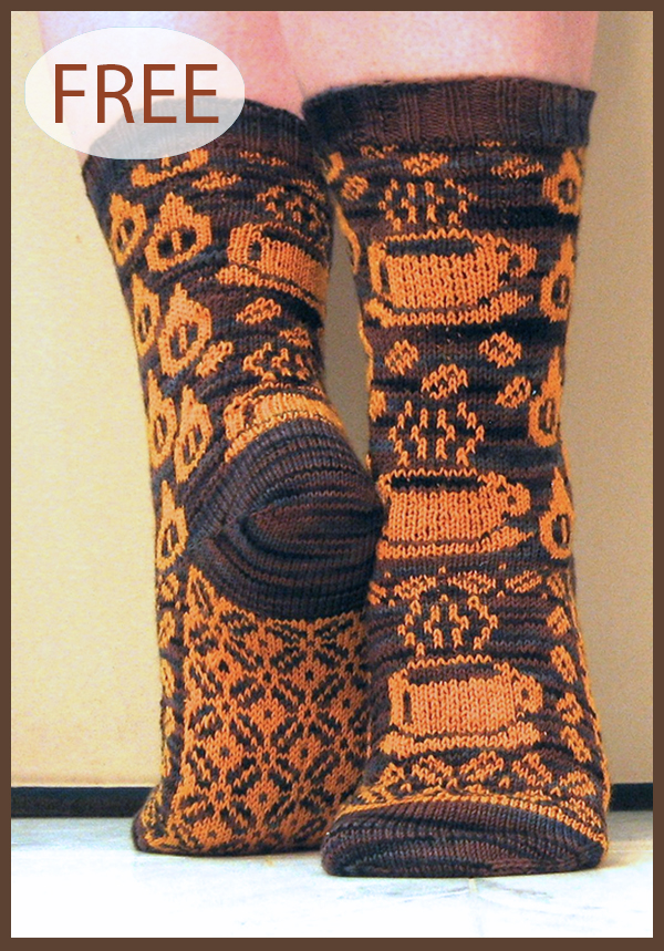 Free Knitting Pattern for Gimme Coffee Socks