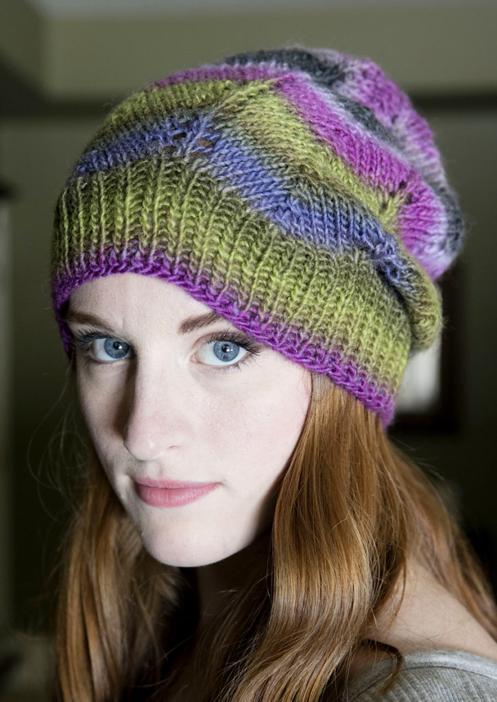 Free Knitting Pattern for Gina Chevron Hat