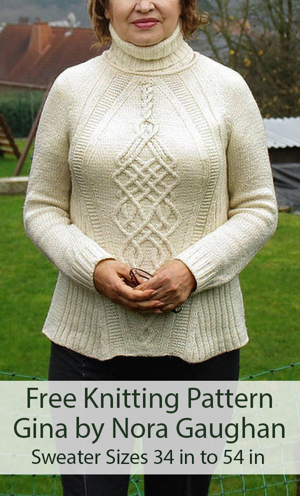 Free Knitting Pattern for Gina Cabled Sweater by Norah Gaughan Sizes 34 in to 54 in