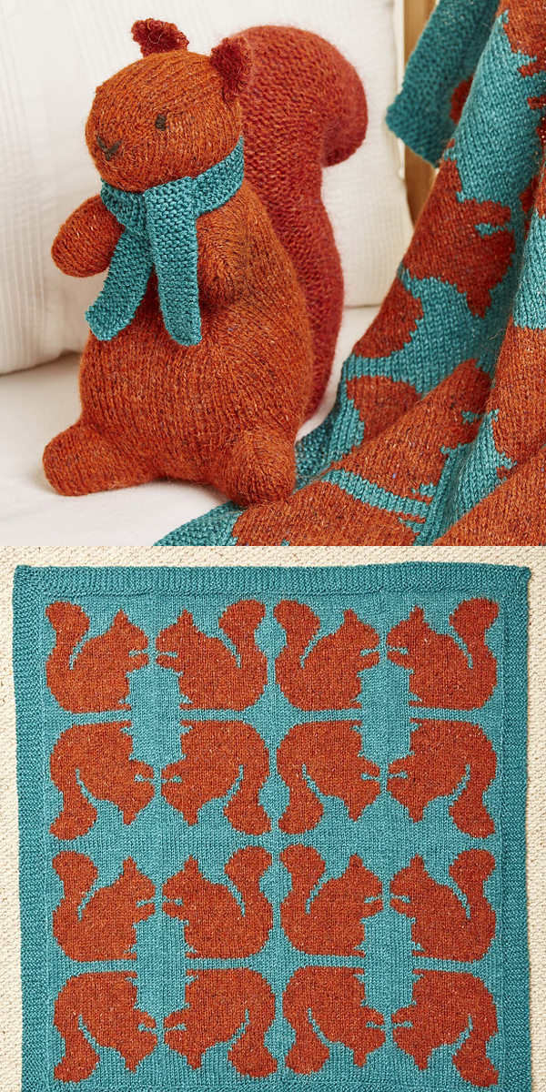 Knitting Pattern for Ginger Squirrel Toy and Blanket