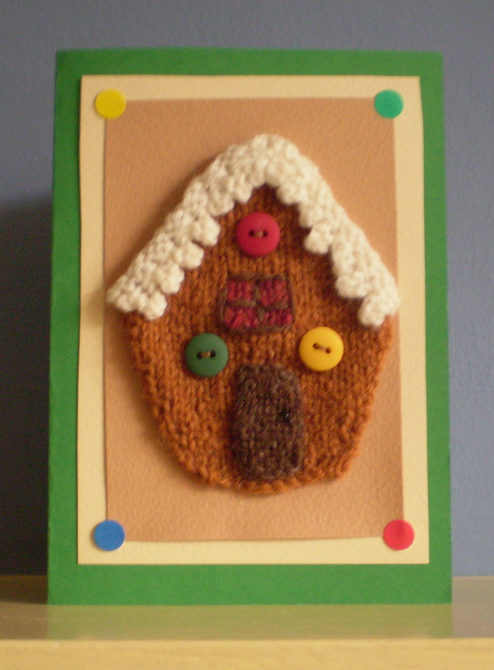 Free Knitting Pattern for Gingerbread House Card