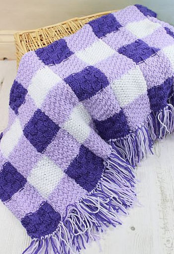 Knitting Pattern for Gingham Baby Blanket