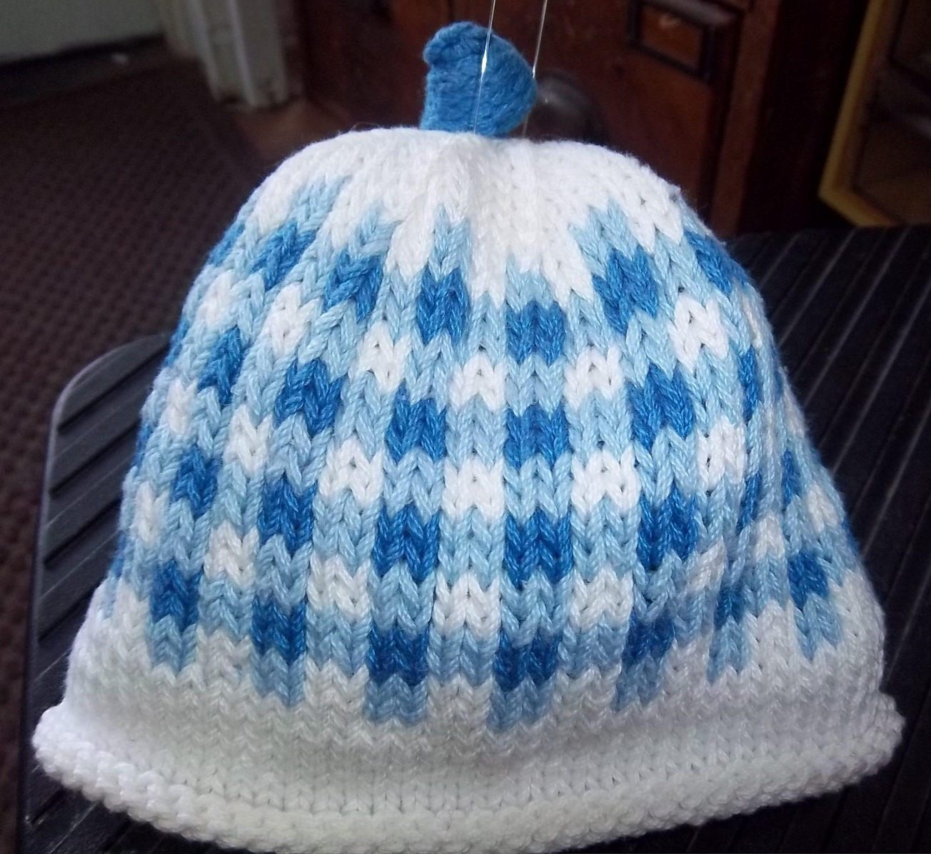 Free Knitting Pattern for Gingham Baby Hat