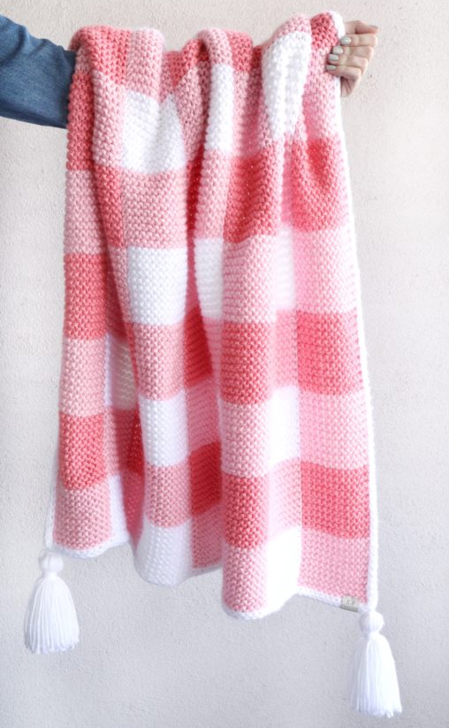 Free Knitting Pattern for Gingham Blanket