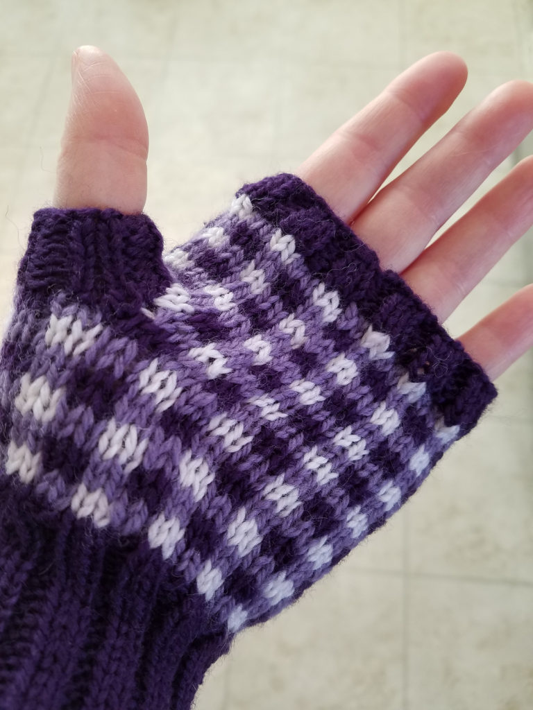 Free Knitting Pattern for Gingham Fingerless Mitts