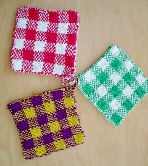 Free Knitting Pattern for Gingham Plaid Potholders