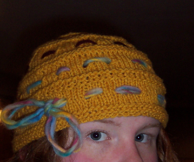 Ginny Weasley's Goblet of Fire Hat Free Knitting Pattern | Harry Potter inspired Knitting Patterns, many free knitting patterns | These patterns are not authorized, approved, licensed, or endorsed by J.K. Rowling, her publishers, or Warner Bros. Entertainment, Inc.