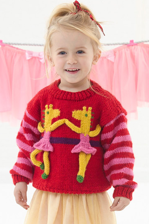 Free Knitting Pattern for Giraffe Ballerina Sweater