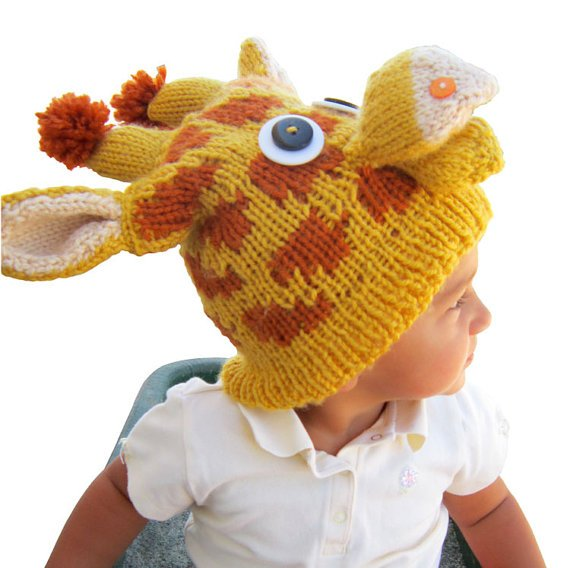 PATTERN - Knit Giraffe Hat