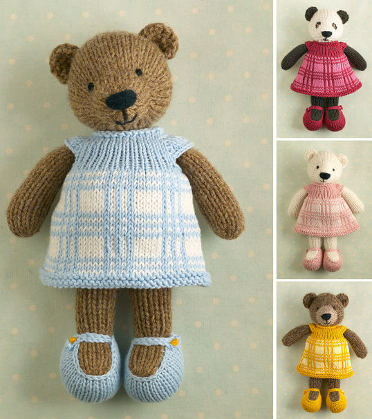 Knitting Pattern for Bear Toy With Plaid Dress