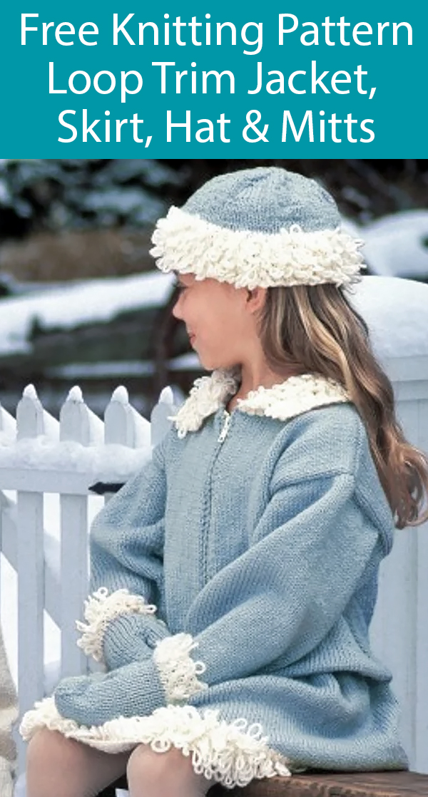 Free Knitting Pattern for Loop Trim Jacket, Skirt, Hat & Mittens