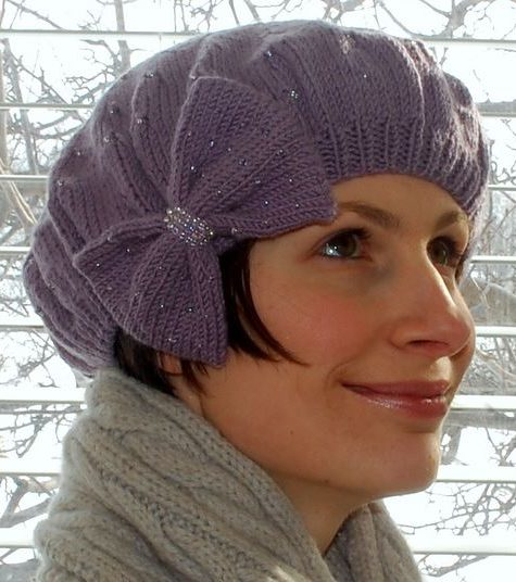 Free Knitting Pattern for Glimmer Beret Hat with Bow