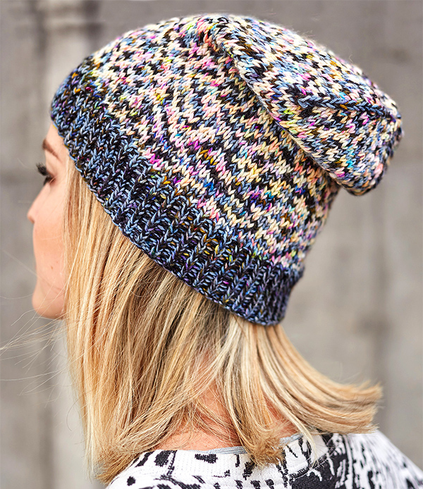 Free Knitting Pattern for Easy Stash Yarn Glitch Hat