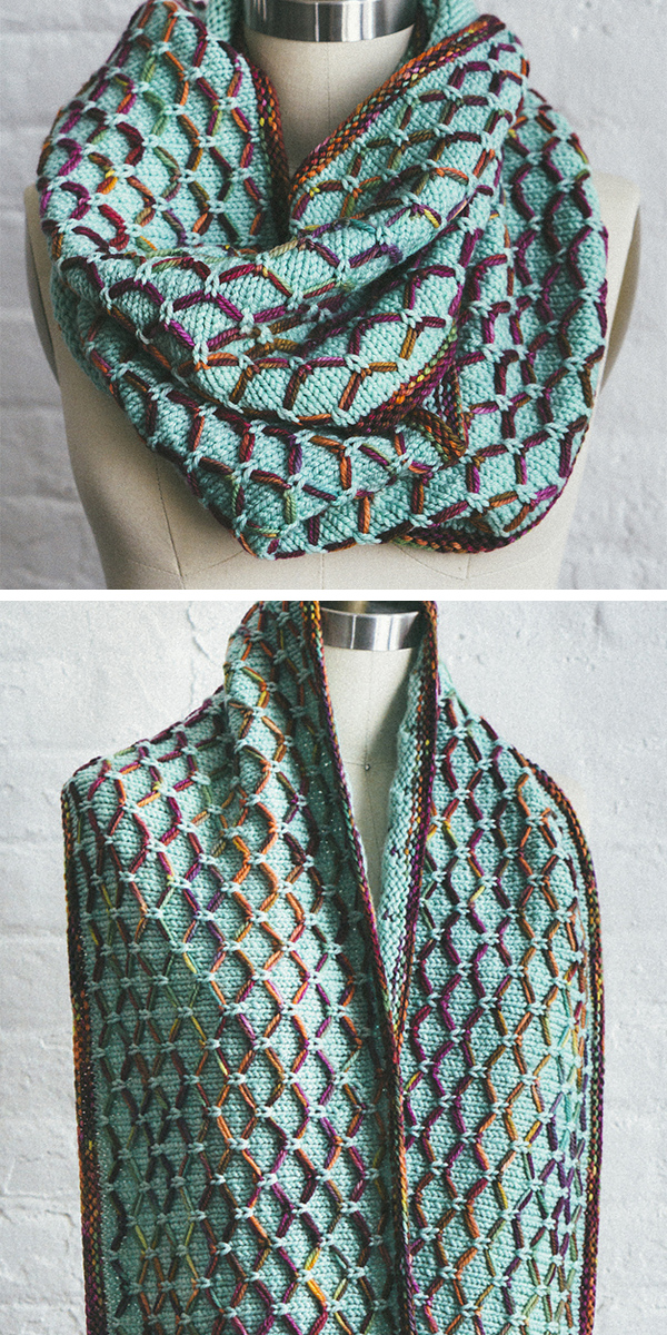 Free Knitting Pattern for 6 Row Repeat Glorious Cincuenta Cowl