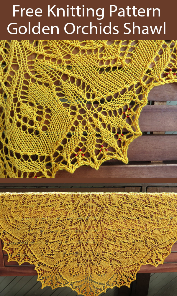 Free Knitting Pattern for Golden Orchids Shawl
