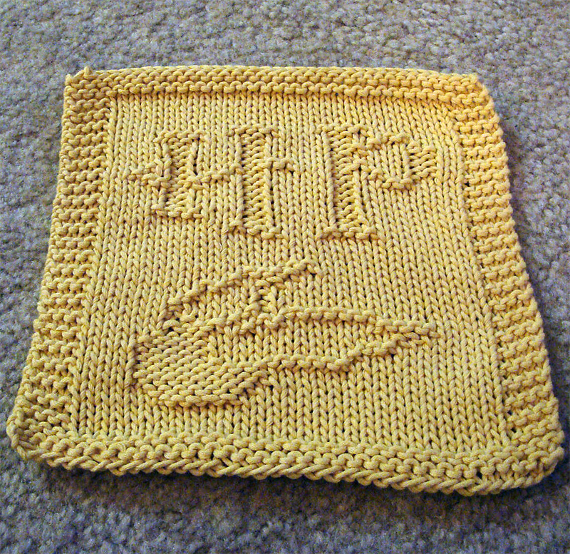 Free Knitting Pattern for Harry Potter Golden Snitch Dishcloth