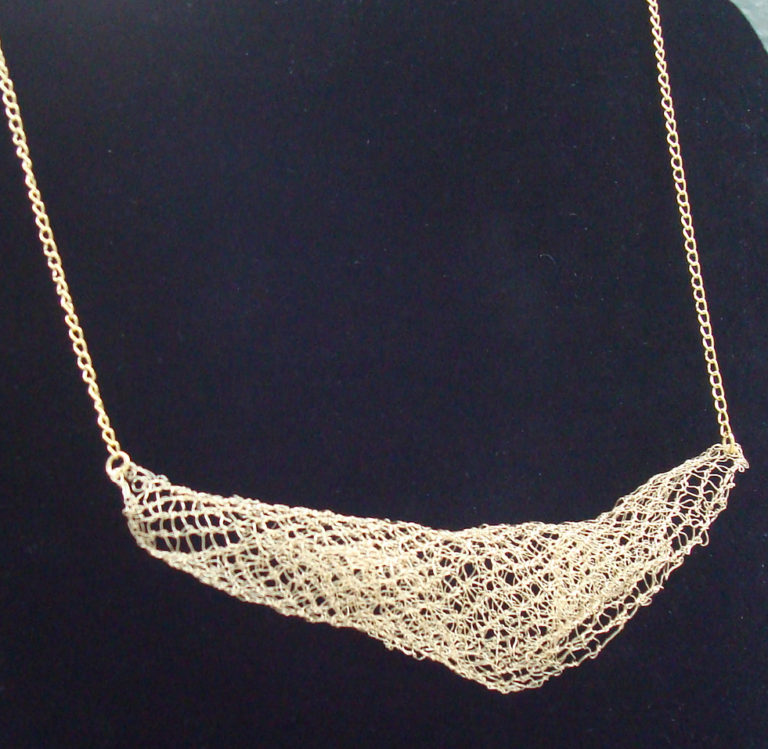 Free Knitting Pattern for Golden Waves Necklace