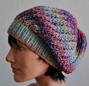 79b0530d8a7 Free knitting pattern for Treasure Slouchy Beanie great with multi-color  yarn