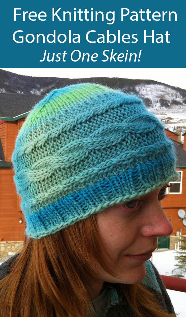 Free Hat Knitting Pattern Gondola Cables Hat