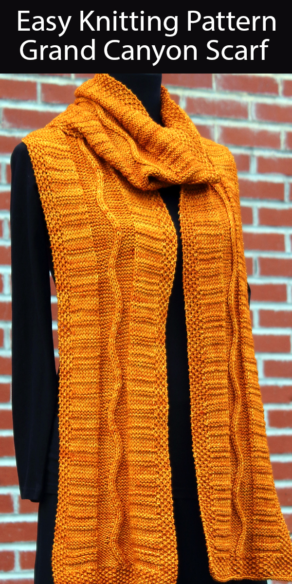 Easy Knitting Pattern for Grand Canyon Scarf