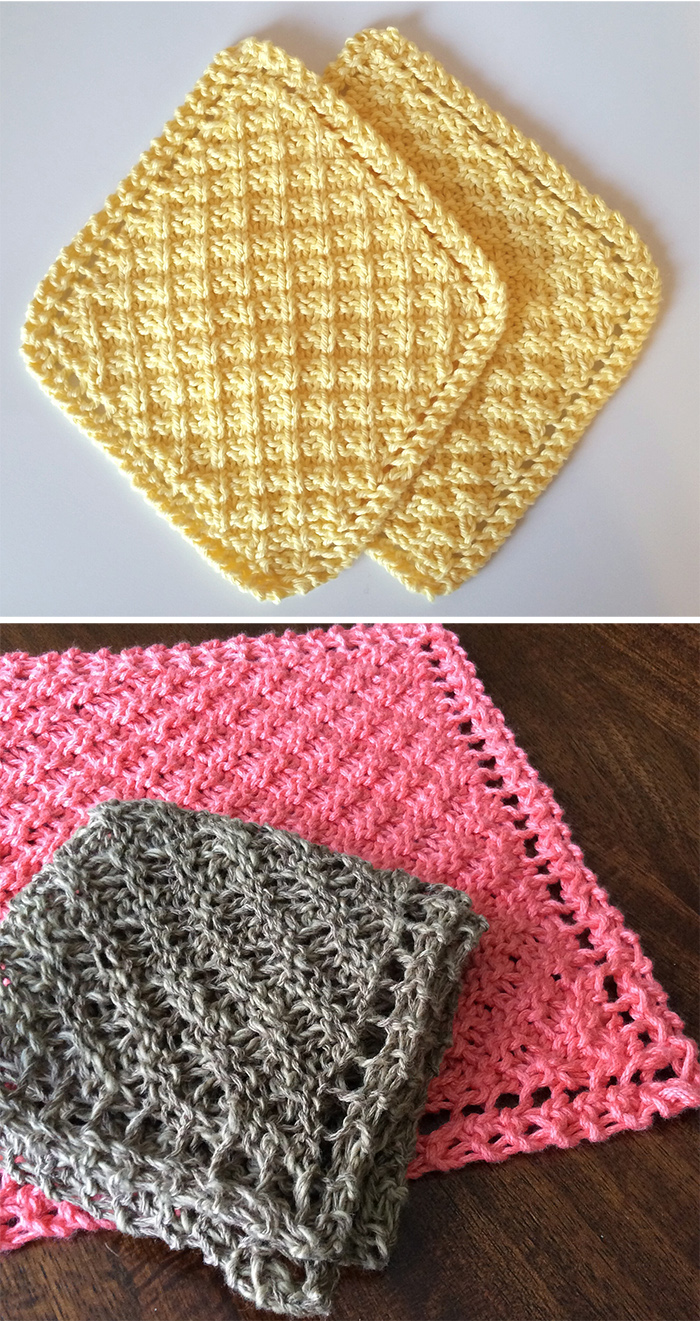 Free Knitting Pattern for Grandmother's Waffle Washcloth/Blanket