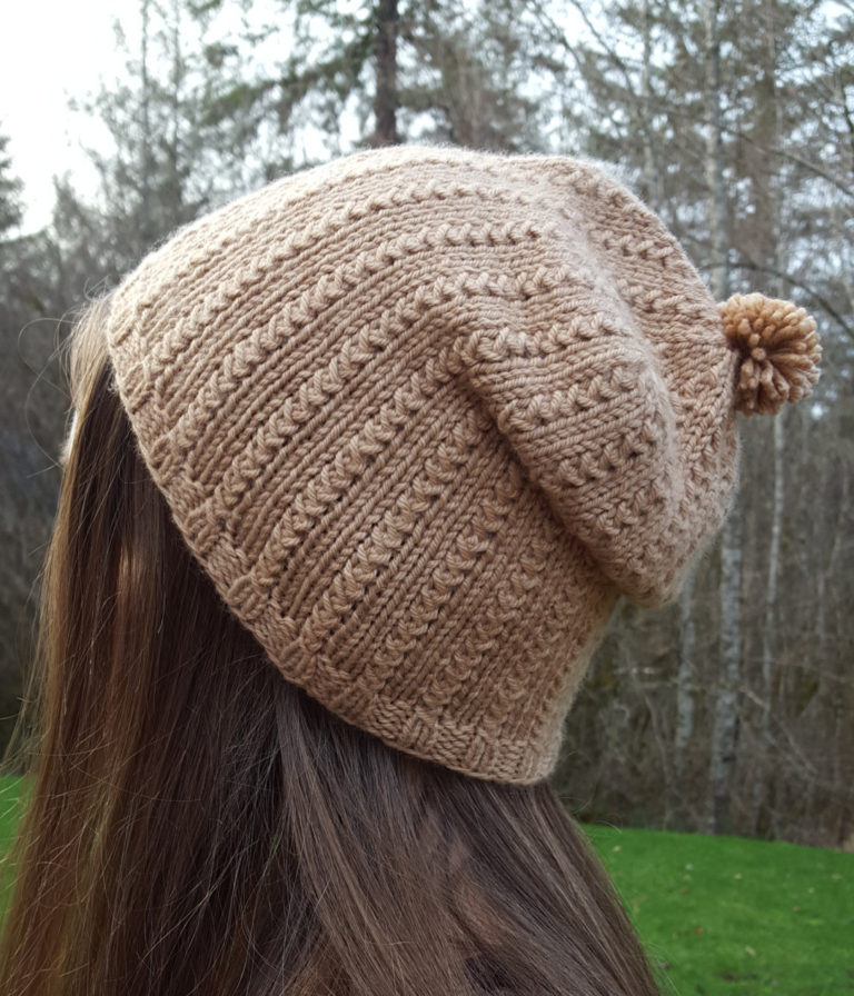 Knitting Pattern for 2 Row Repeat Grass Stitch Slouchy Hat or Beanie