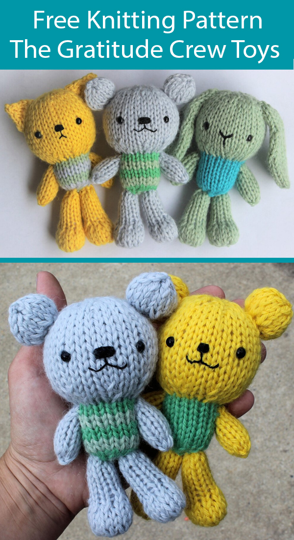 Free Knitting Pattern for The Gratitude Crew Toys Bear, Bunny, Cat