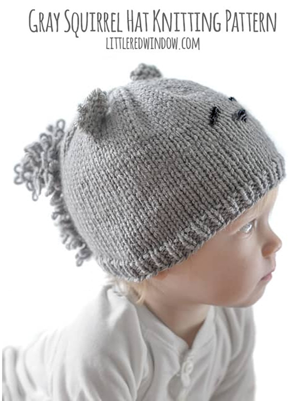Free Knitting Pattern for Gray Squirrel Hat