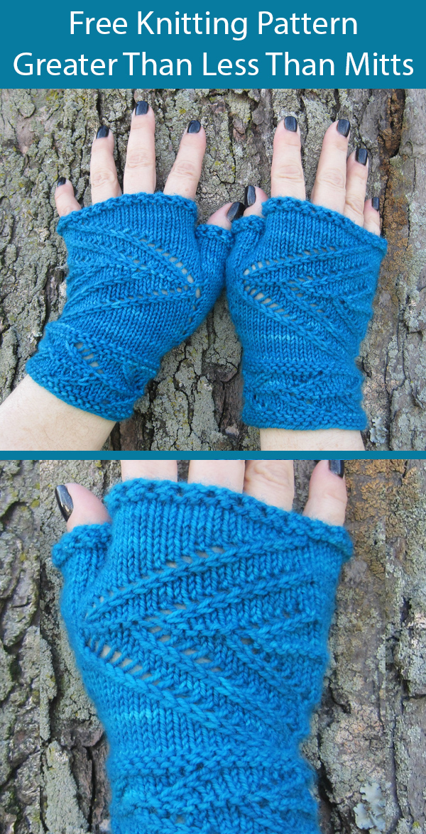 Free Knitting Pattern for Greater Than Less Than Mitts