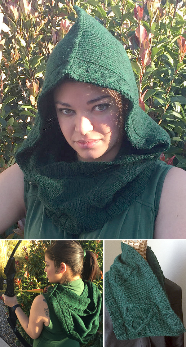 Knitting Pattern for Green Arrow Hood and Cowl