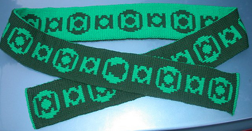Free knitting pattern for Green Lantern scarf