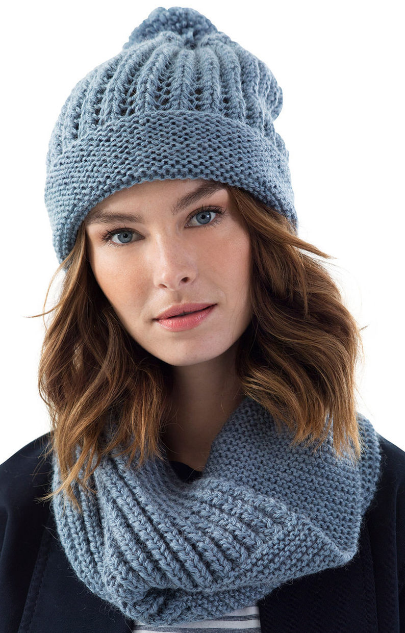 Free Knitting Pattern for Easy Greenpoint Hat and Cowl