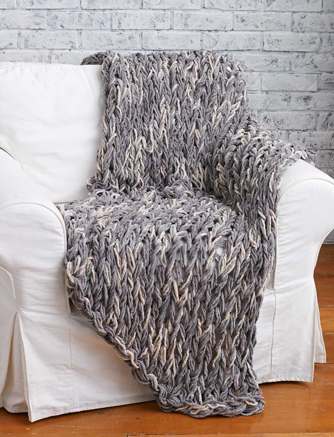 Free Knitting Pattern for Arm Knit 3 Hour Blanket
