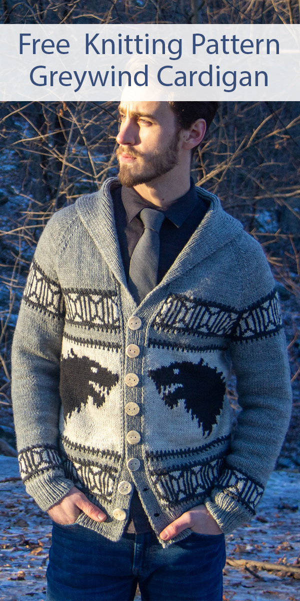 Free knitting pattern for Game of Thrones inspired Greywind Cardigan