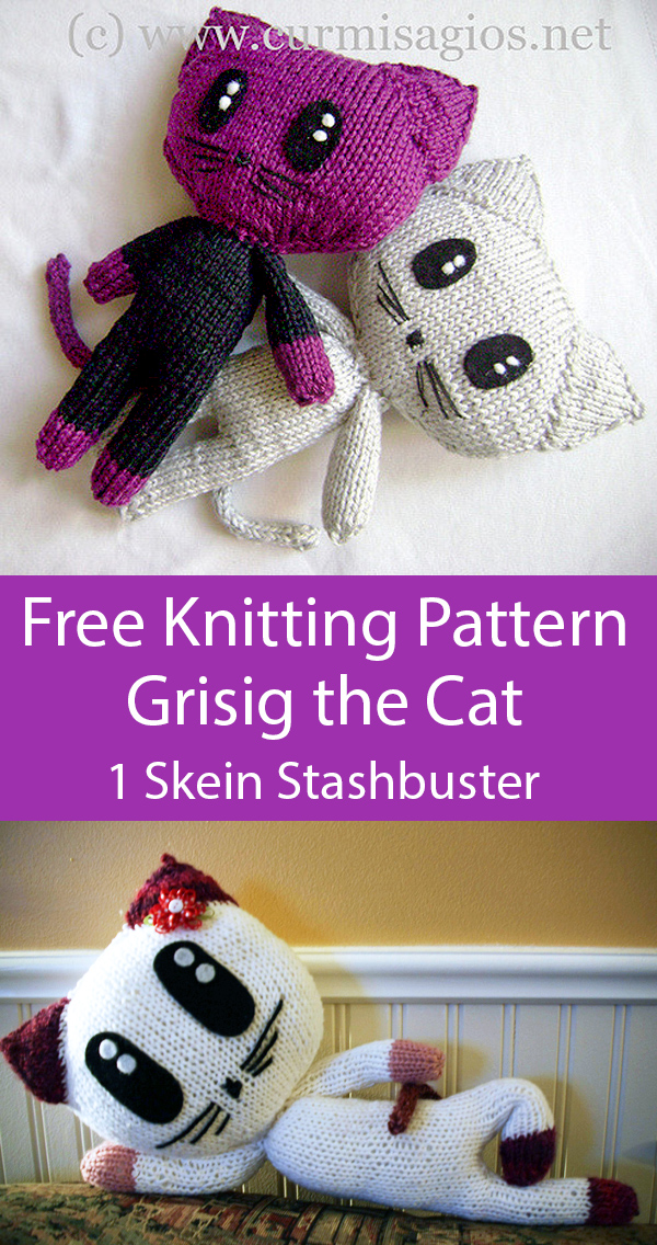 Free Knitting Pattern for Grisig the Cat Amigurumi 1 Skein or Less Stashbuster